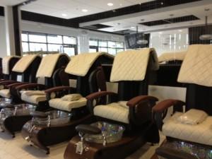 pedicure chairs at Polished Nail Bar Ballantyne